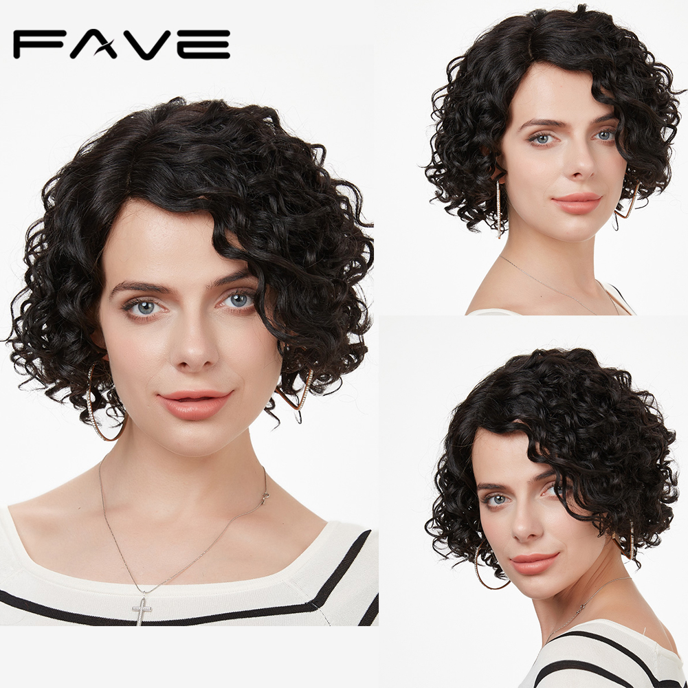 FAVE Short Curly Bob Remy Brazilian Human Hair Wigs L Part Human Hair Wigs Pre Plucked Hairline Wave Wigs 1B#/30#/99J Color