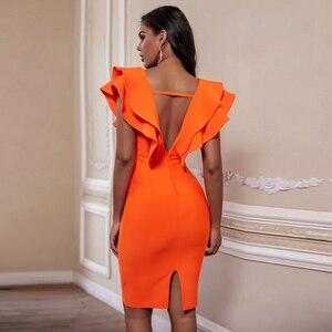 Image 3 - Ocstrade seksi bandaj elbise 2020 yeni kadın turuncu derin v boyun Ruffles zarif bandaj elbiseler Bodycon Backless kulübü parti elbise