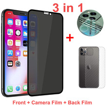 Magtim 3-in-1 Anti spy Screen Protector For xs max xr 6s 7 8 plus Full Cover Tempered glass for iPhone 12 11pro max Private Film