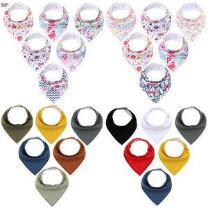 Bandana Unisex de algodón orgánico para niños y niñas, Set de 6 unidades por lote, Set de regalo para la dentición y babeo