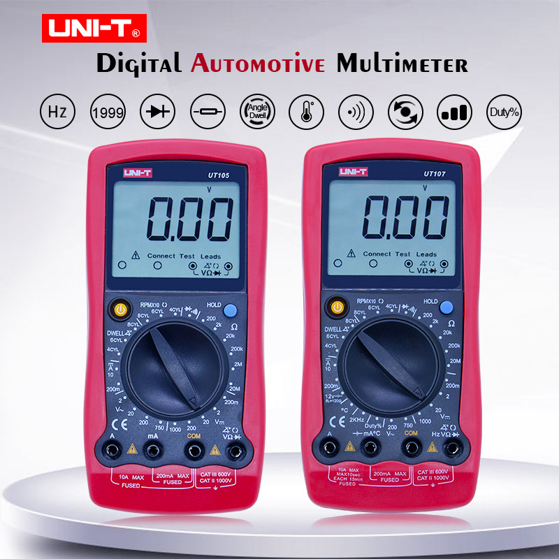 UNI-T <font><b>UT105</b></font> UT107 Automobile Digital Multimeter;AC DC voltage DC current meter;Ohm Diode tester;Engine speed Measure Dwell/Tach image