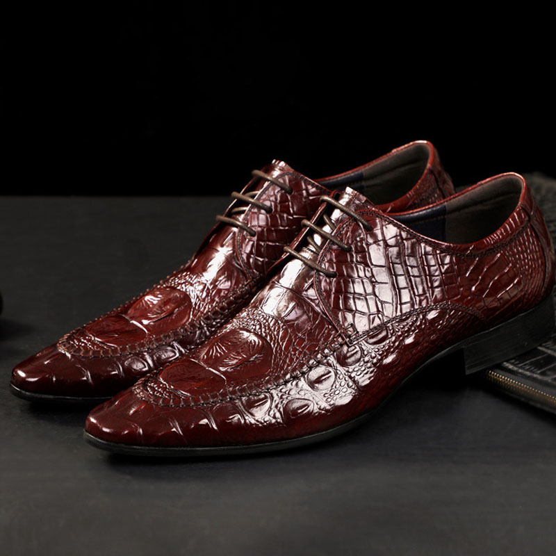 Feitos à Mão Sapatos Clássicos Masculinos Estilo Moderno Couro Genuíno Oxford Italianos Crocodilo Yaz2020