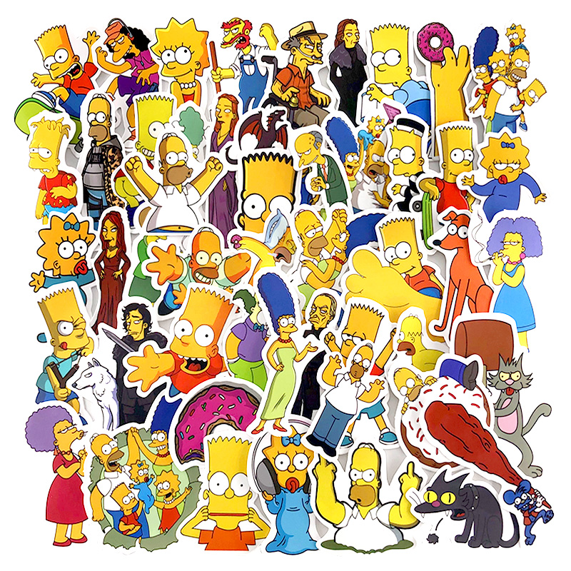 50pcs/Lot Anime Sticker Vinyl Cartoon Simpsons Stickers Laptop Sticker Decal Fridge Skateboard Car PVC Graffiti Kids Stickers