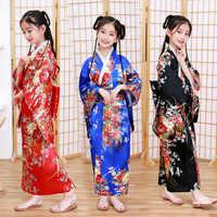 Japanese Style Girls Traditional Kimono Kids Original Ao Dai Yukata Wedding Dress Children Dance Haori Harajuku Cosplay Costumes