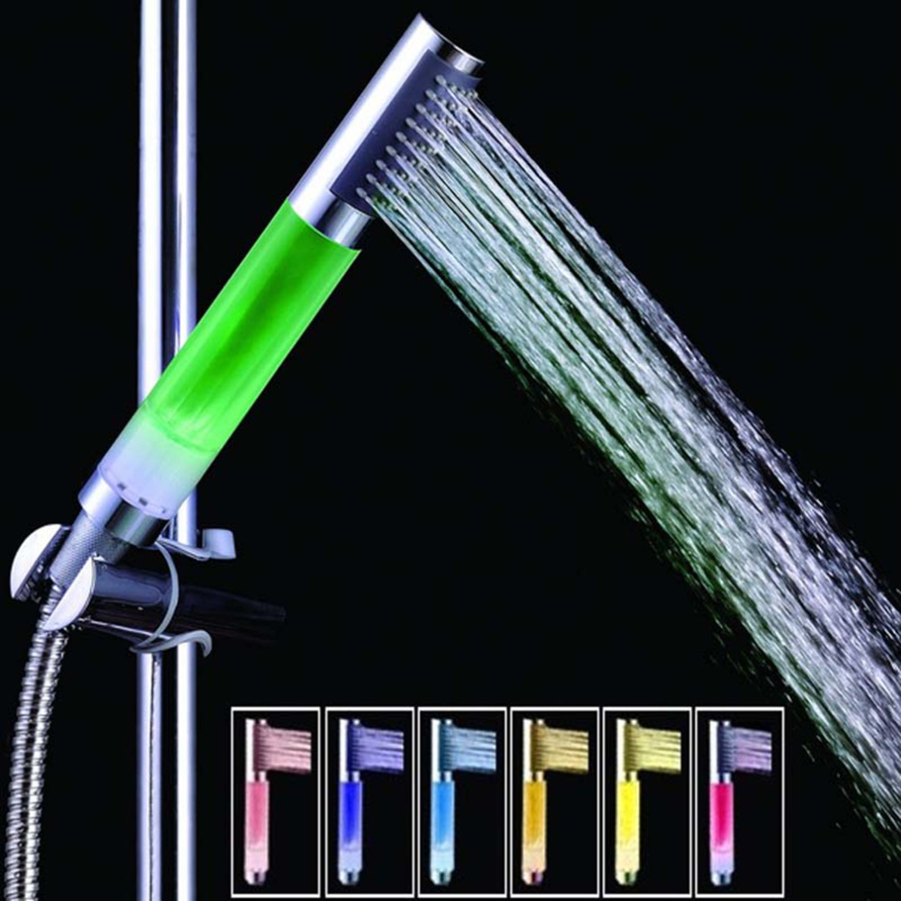1Pc Handheld 7 Color Changing LED Romantic Automatic Shower Bath Shower Head