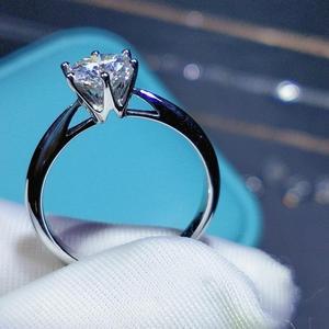 Image 4 - Geoki חדש פופולרי 1 ct עבר יהלומים מבחן Moissanite טבעת כסף 925 מושלם לחתוך מעולה D צבע פנינה אירוסין טבעת
