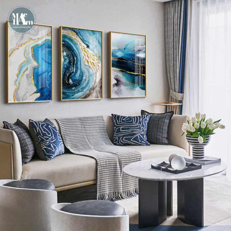Абстрактная акварель река золотые линии настенный постер печать Современная Картина на холсте искусство для гостиной декоративные картины домашний декор