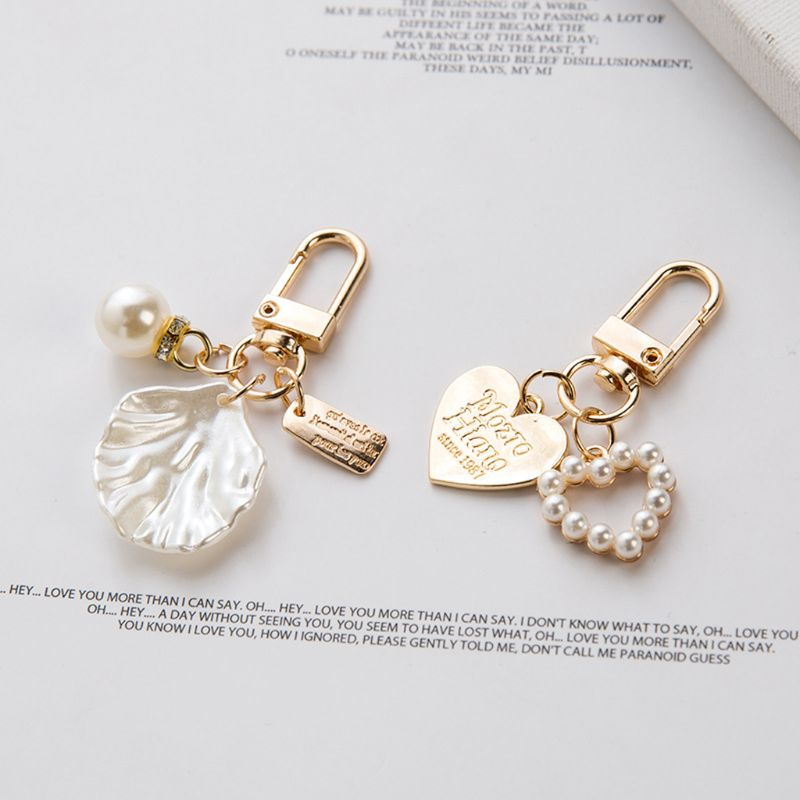 4Pcs Love Letter Shell Conch Pearl Metal Golden Keychain Kit  Bag Charm Jewelry