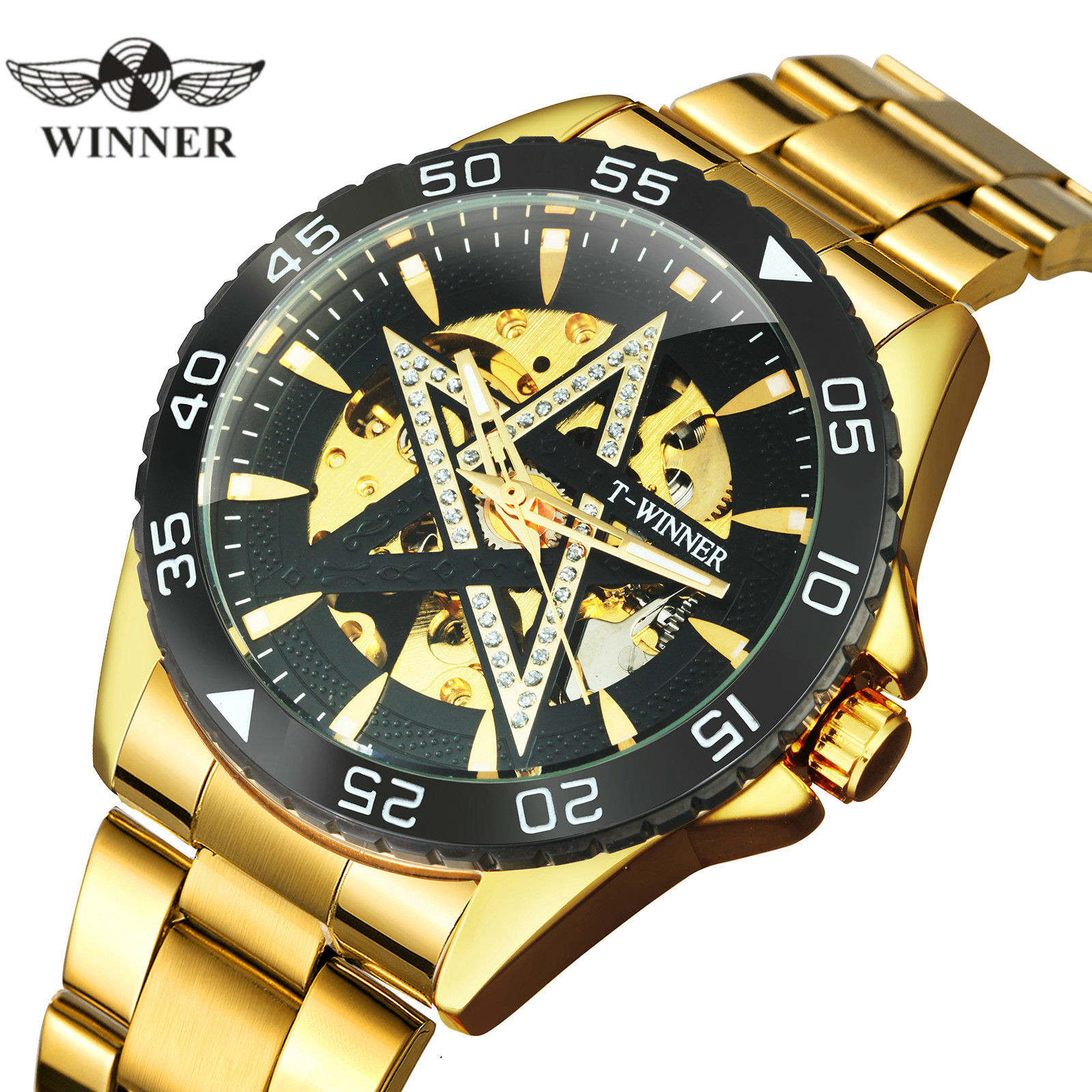 WINNER 2020 Business Mens Automatic Watches Top Brand Luxury Diamond Bling Star Dial Golden Skeleton Mechanical Watch Men Xmas