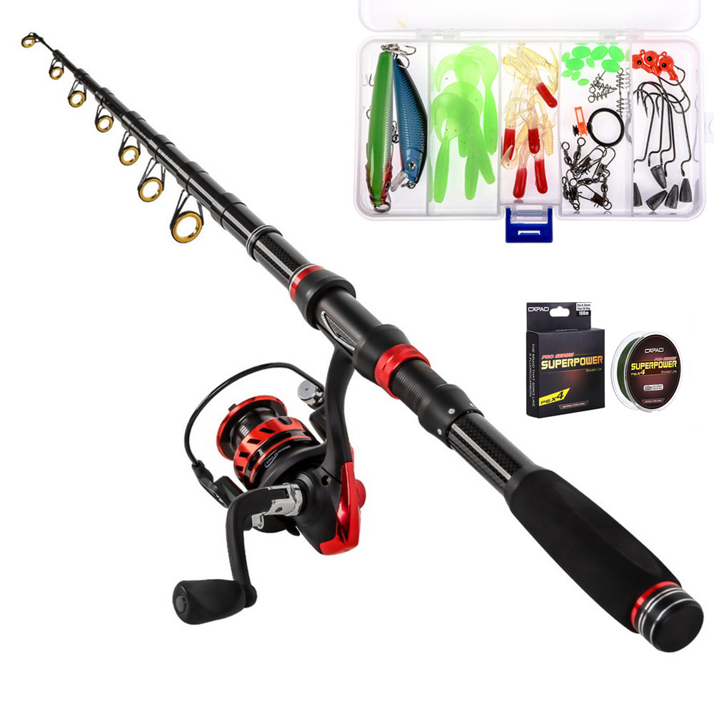 1.8M-3.0M Portable Telescopic Fishing Rod And Reel Combos Carbon Fiber Fishing Pole Reel Full Kits Bag For Saltwater Freshwater