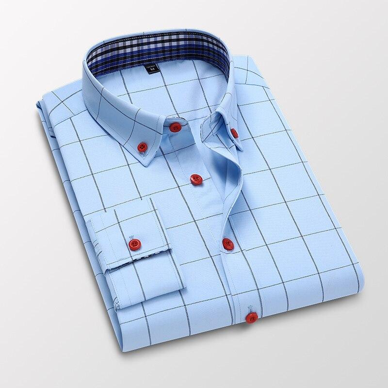 Handsome Fashion Men Shirts Casual Long Sleeved Plaid Shirt Regular Fit Male Blouse 4XL 5XL 10
