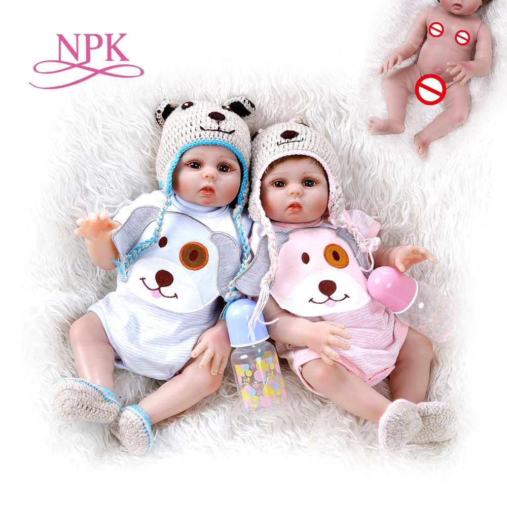 48CM Premie Doll Reborn Baby Sweet Twins In Pink And Blue Full Body Soft Silicone Lifelike Soft Baby Doll Bath Toy Anatom