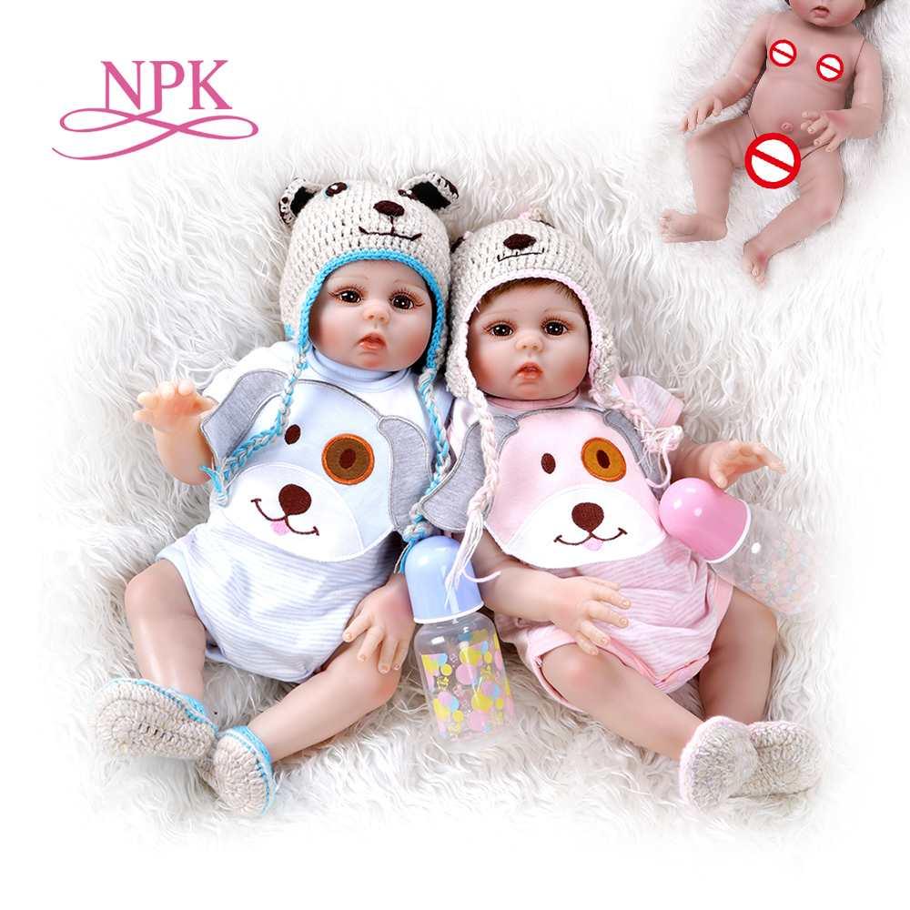 48CM premie poupée reborn bébé doux jumeaux en rose et bleu plein corps doux silicone réaliste doux bébé poupée jouet de bain Anatom