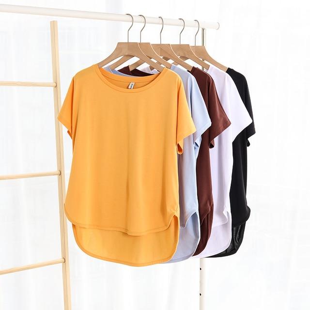 100% cotton Loose Casual Summer Short Sleeve Female T shirt Women  asymmetric O-neck Tee Tops M30326 1