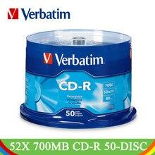 DVD-диски Verbatim, 50 шт/партия, флэш-диски, 700 Мб, 80 минут, 52X фирменные записываемые медиа-диски, 50PK шпиндель, компактное запись