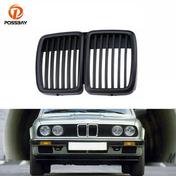 POSSBAY 1Pair Car Front Center Grilles Matte Black for BMW 3 Series E30 1982-1993/Coupe 1982-1991 Kidney Center Bumper Grilles image