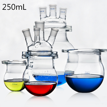 250 мл три и четыре рта лабораторный стеклянный химический реактор реакционная колба чайник химия Лабораторная реакция сосуд