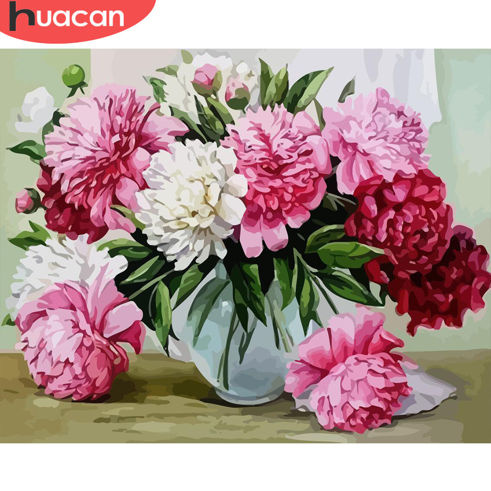 HUACAN DIY Painting By Number Flowers Canvas Pictures Oil Painting For Living Room Wall Art Home Decoration Gift