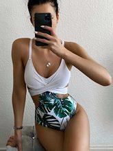 Femmes une pièce maillot de bain Sexy Trikini croix pansement Sexy maillot de bain taille haute maillots de bain feuille imprimé 2021 maillot de bain plage