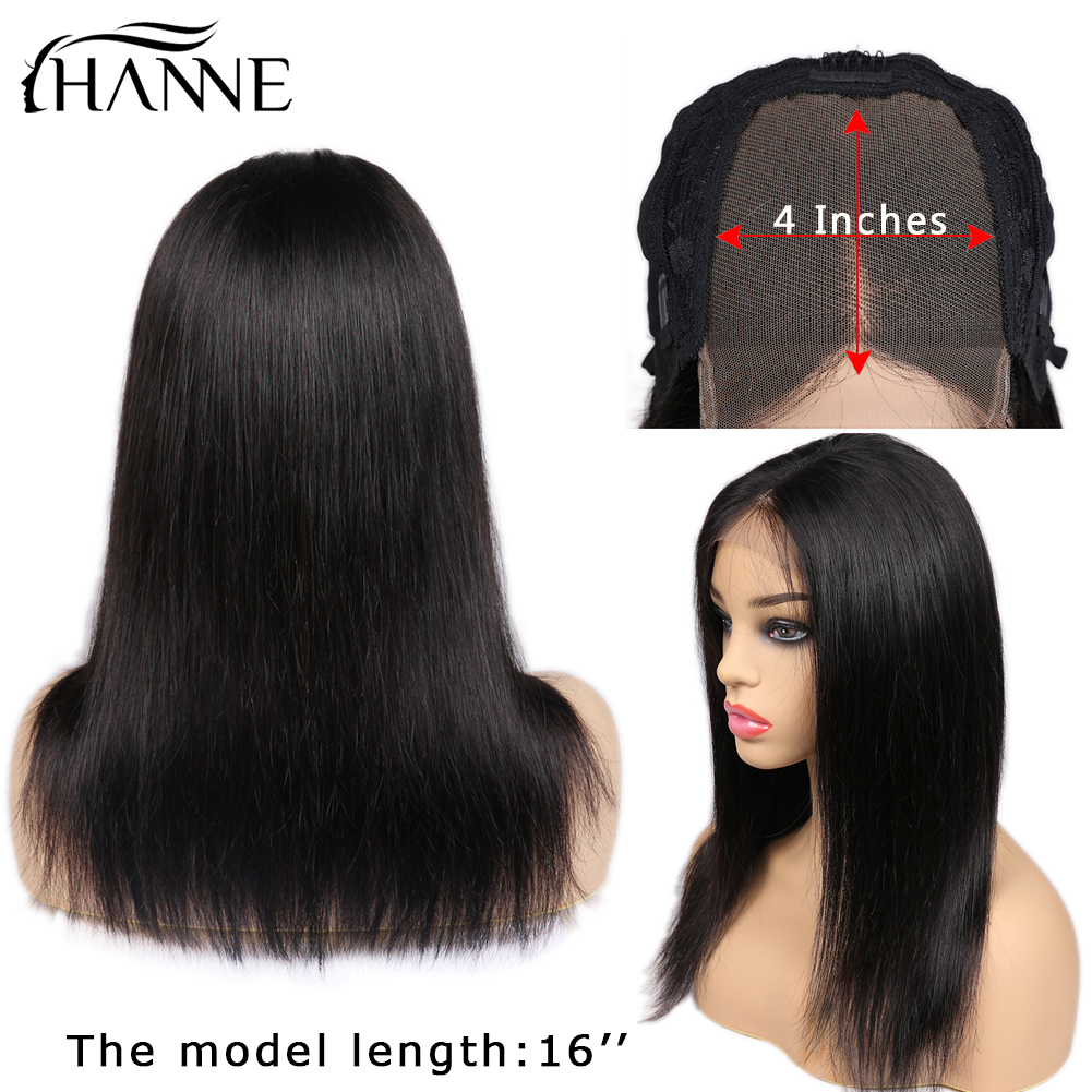 HANNE Hair 4*4 Lace Closure Human Wigs Middle Part Remy Straight Glueless Brazilian Wig with Baby for Black Women