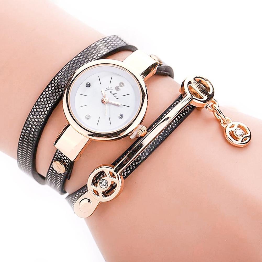Fashion Personality Woman Luxury  Rhinestone Multilayer Bracelet Faux Leather Strap Analog Quartz Wristwatch Ladies Gift Ladies