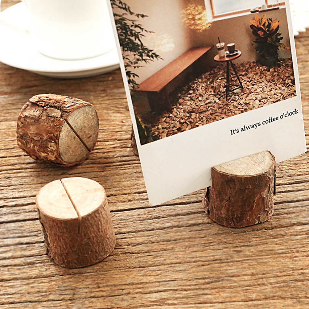 20pcs עץ ערימת שם מקום כרטיס תמונה מחזיקי קליפת עץ תזכיר מחזיק תפריט מספר תזכיר Stand מסיבת חתונת שולחן דקור