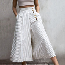 2021 Fashion High Waist Work Pants Women Retro Striped Trousers Celmia Autumn Casual Buttons Loose Elegant Party Wide Leg Pants