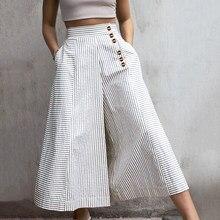 2021ファッションハイウエスト仕事パンツ女性レトロストライプズボンcelmia秋カジュアルボタンエレガントなパーティーワイド脚パンツ