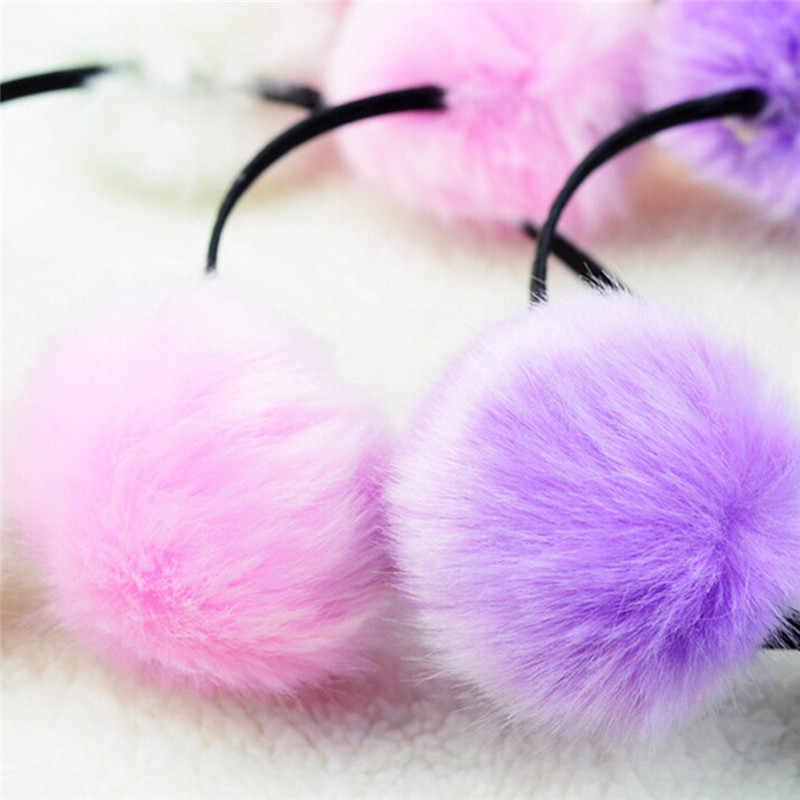 Искусственный кроличий пушистый меховой ободок для волос для девочек, ободок для волос с кошачьими ушками и помпонами, обручи для волос, женские аксессуары для волос