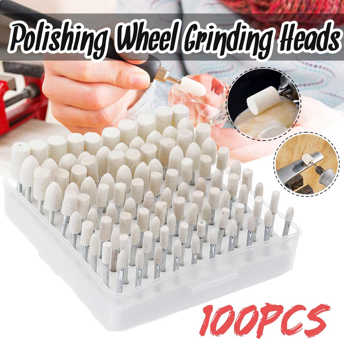 100 Pcs Wool Felt Grinding Heads 4/5/6/8/10mm Assorted Dremel Mini Drill Felt Wheel For Metal Polish