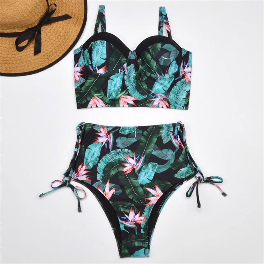 H3ec1509c9ead47d1a6b445053557ce23c Bikini Push up 2019 Sexy Women Swimsuit Striped Patchwork Plus Size Swimwear Female Bandage Biquini Bathing suit Women