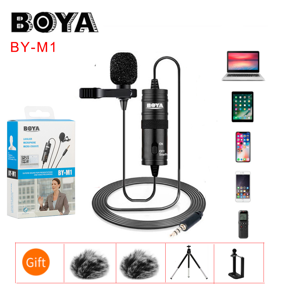BOYA BY-M1 BYM1 M1 Label Lavalier Omni-directional Condenser Microphone For IPhone Android SONY Canon Nikon DSLR Audio Recorders