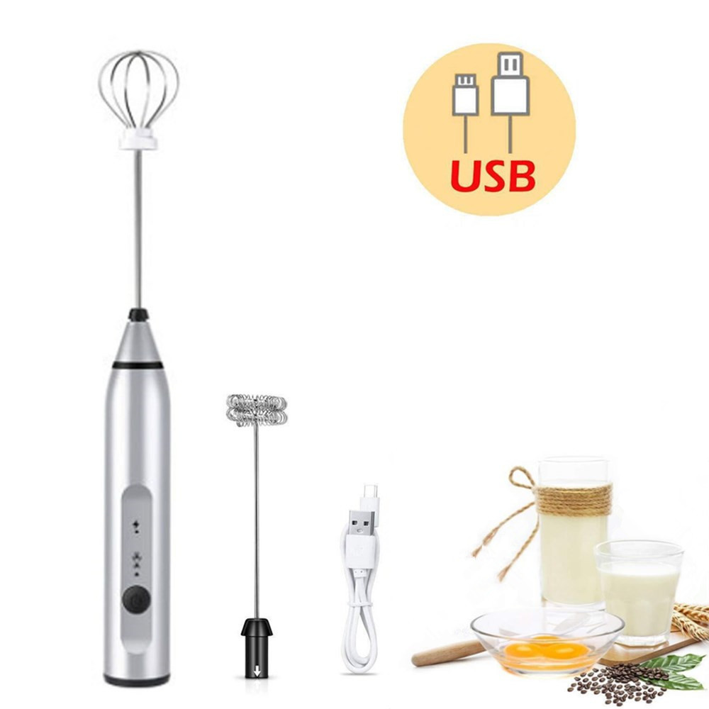 3 Speeds Portable Handheld Milk Frother Egg Beater Coffee Drink Juice Mixer Whisk Egg Stirrer USB Rechargeable Food Hand Blender