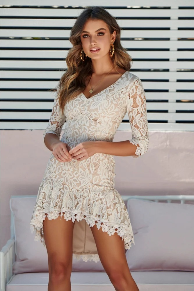 Sexy V Neck 3/4 Sleeves Irregular High Low Cocktail Dress Illusion Back Cut Out Lace Prom Party Dress Vestido Cocktail
