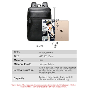 Image 5 - Fashion Laptop Men Backpack Large Capacity Travel Man Bag with USB Charging Backpacks PU Leather School College Waterproof