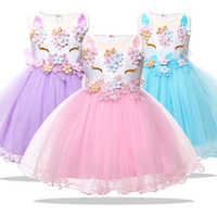 Ropa de Navidad para niña, vestido de princesa de unicornio para niña recién nacida, vestido de fiesta de primer cumpleaños para niña de 1 a 2 años, Invierno 2021