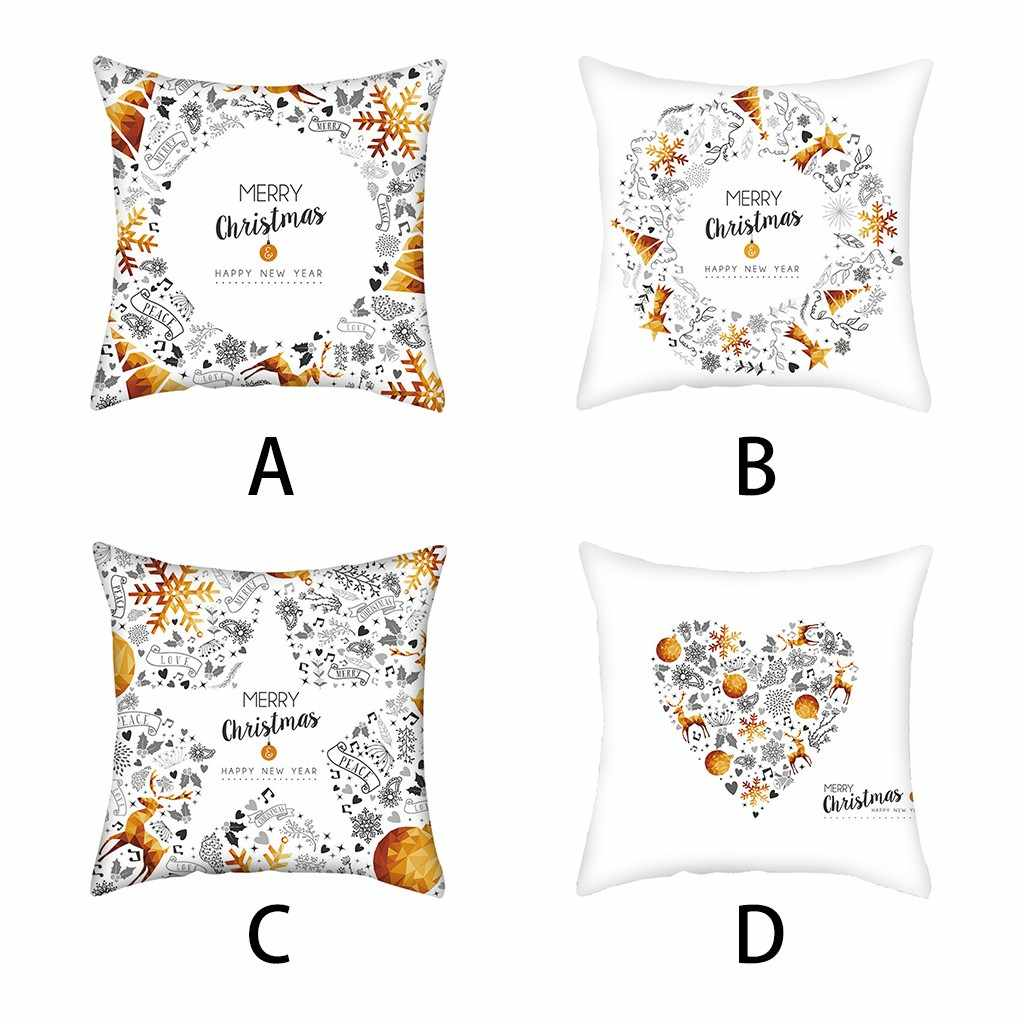 45x45cm Christmas Pillow Covers White Black Gold Letter Merry Christmas  Throw Pillow Case Home Decoration Decorative Pillowcase
