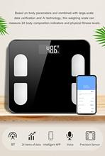 Inteligentna waga do pomiaru tkanki tłuszczowej 24 wskaźniki ciała bezprzewodowa waga cyfrowa BT analizator ciała Monitor pomiar masy ciała tanie tanio KKMOON Checkweigher 290*260*27mm BT951 Other LCD display