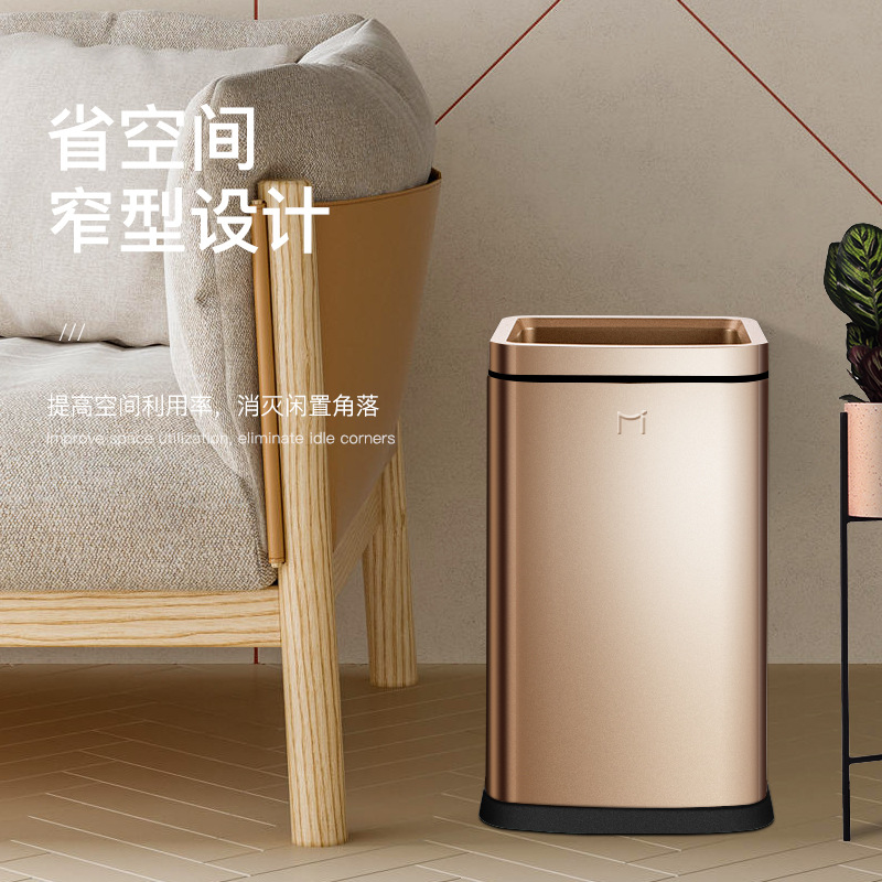 US $74.9 18% OFF|Trash bin dustbin bathroom trash garbage can kitchen  bathroom trash cans large trash bins double thickened stainless steel-in  Waste ...