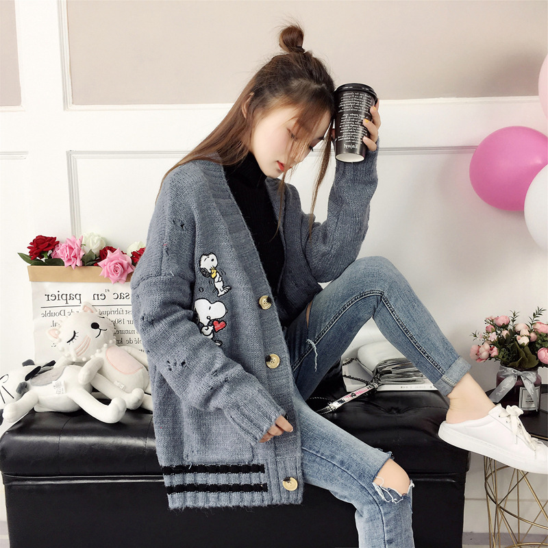 Korean-style Harajuku Animal Embroidered Sweater Coat Loose-Fit Versatile Sweater WOMEN'S Cardigan Autumn And Winter Outdoor Stu