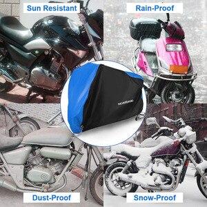 Image 3 - 190T שחור כחול עיצוב עמיד למים אופנוע מכסה מנועים אבק גשם שלג UV מגן כיסוי מקורה חיצוני M L XL XXL XXXL D35