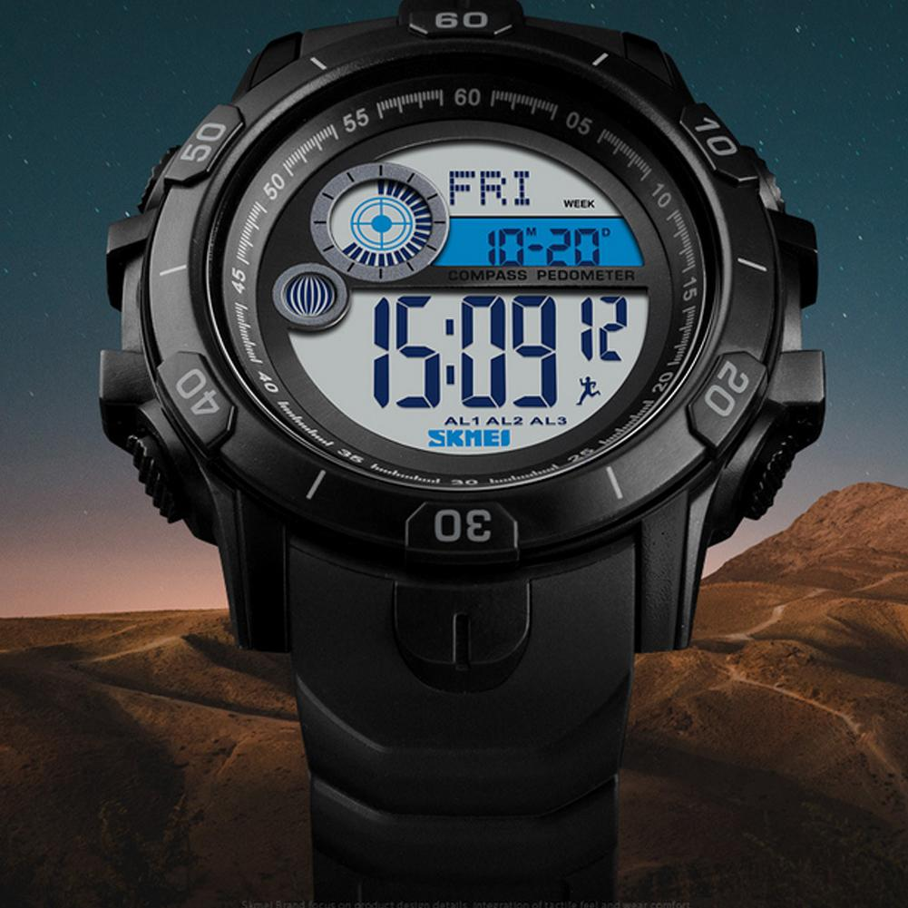 SKMEI 1480 Compass Double Display Sports Waterproof Countdown Multi-function Male Student Electronic Digital Watch Мужские часы