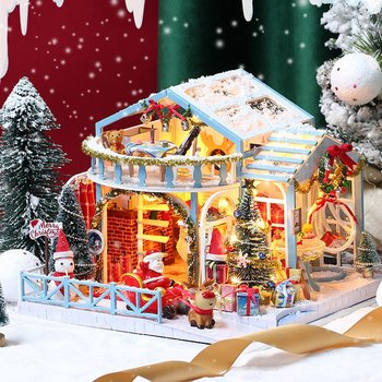 2020 Christmas DIY Doll House Wooden Doll Houses Miniature Dollhouse Furniture Kit with LED Light Toys for kids Christmas Gift cutebee doll house miniature dollhouse with furniture kit wooden house miniaturas toys for children new year christmas gift