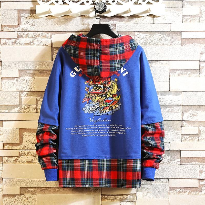 Autumn Spring 2019 Hoodie Sweatshirt Mens Hip Hop Pullover Streetwear Casual Fashion Clothes  Plus Asian Size M-5XL