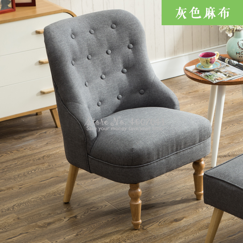 American Cotton Linen Fabric Single Armrest Sofa Nordic Comfortable Mini Chair for Balcony Bedroom Living Room Furniture