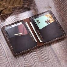 Titular do cartão de identificação de crédito masculino artesanal rústico crazy horse carteira de couro para cartões de banco de couro genuíno