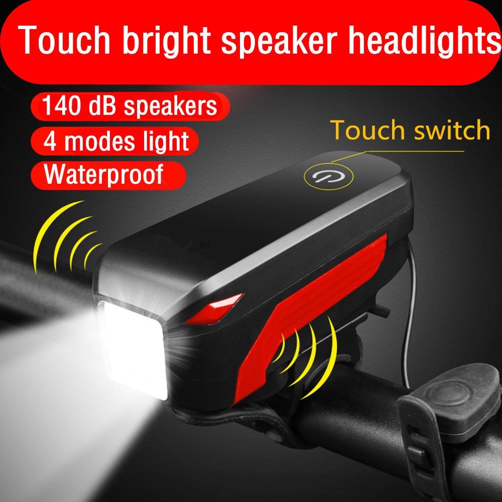 Bike Lights With 140dB Horn IP45 Waterproof Rechargeable LED Bicycle Light Lamp Bike Headlight Cycling Flashlight Lantern 8.15