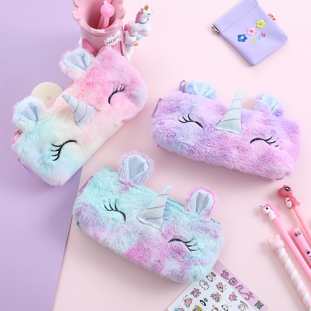 Unicorn Plush School Pencil Case For Girl Boy Cartridge Pencilcase Cute Korean Pencase Bag Large Penal Back To School Stationery