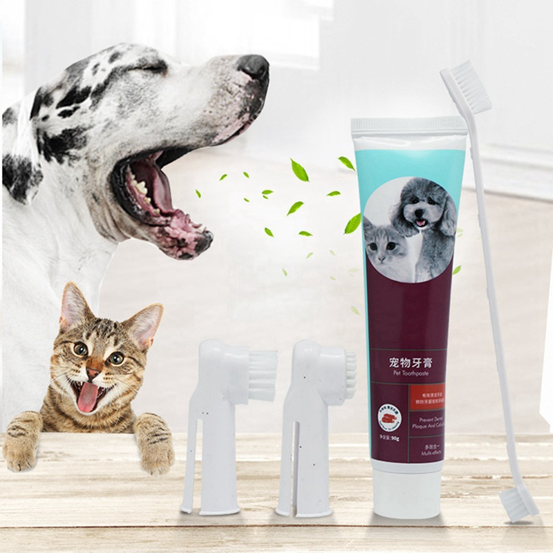Pet Toothbrush Toothpaste Set Puppy Milk/Mint/Beef Taste Toothbrush Dog Cat Finger Back Up Brush Long Handle Brush Care Tool image
