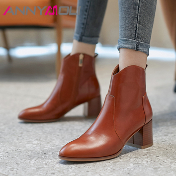 ANNYMOLI Winter Western Boots Women Natural Genuine Leather Block High Heel Ankle Boots Zip Round Toe Shoes Lady Autumn Size 39